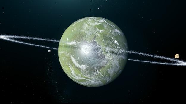 Esopianeta verde con lune e anello Foto Premium