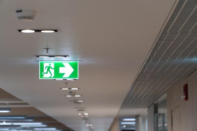 Caduta verde del segno di uscita di sicurezza sul soffitto nell'ufficio. Foto Premium