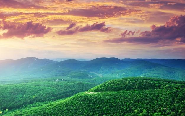 Colline verdi delle montagne Foto Premium