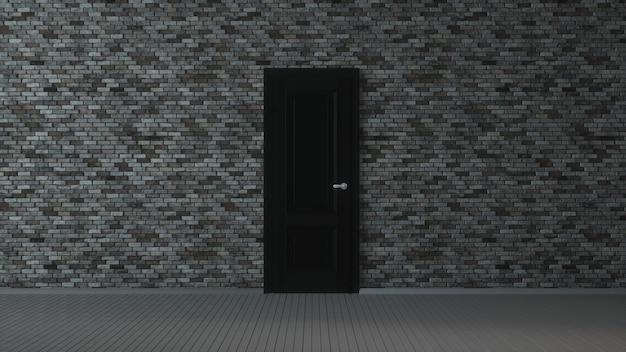 Muro di mattoni grigi, porta nera e pavimento in legno, astratto sfondo interno vuoto. illustrazione 3d. Foto Premium