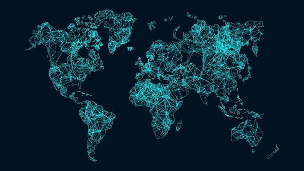 Crescente concetto di rete e connessioni dati globali. Foto Premium