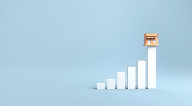 Grafico e negozio di marketing di franchising di crescita. Foto Premium