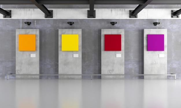 Galleria d'arte grunge con tela colorata Foto Premium