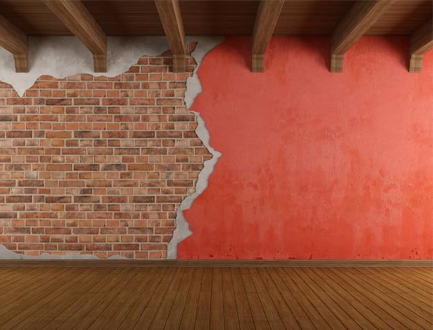 Stanza di lerciume con la vecchia parete incrinata Foto Premium