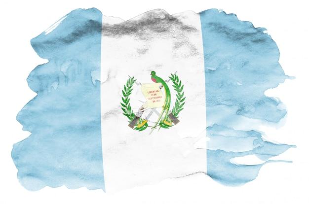 La bandiera del guatemala è raffigurata in stile acquerello liquido isolato su bianco Foto Premium