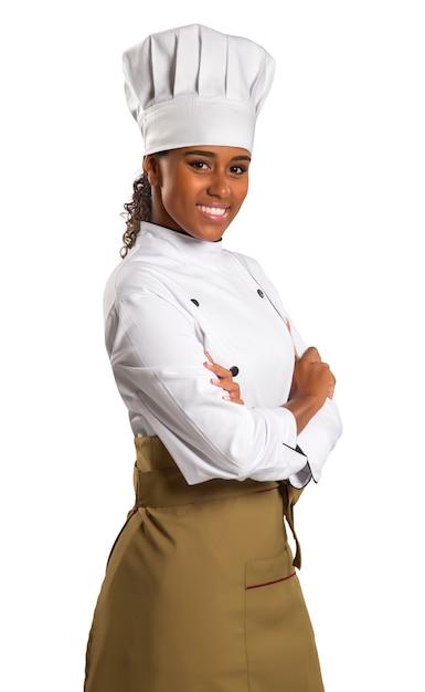 Ritratto a mezzo busto di donna afro-americana chef over white Foto Premium