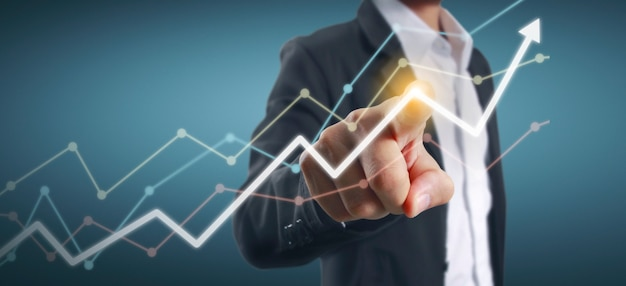 Passi i grafici commoventi dell'indicatore finanziario e del grafico di analisi di economia di mercato di contabilità Foto Premium