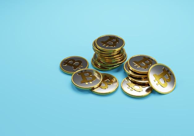 Manciata di bitcoin sul blu Foto Premium