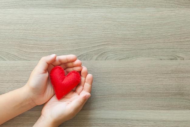 Mani che tengono una forma di cuore morbido. san valentino Foto Premium
