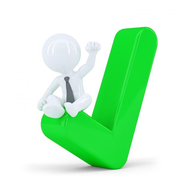 Uomo d'affari felice in cima al segno di spunta verde. concetto di affari Foto Premium