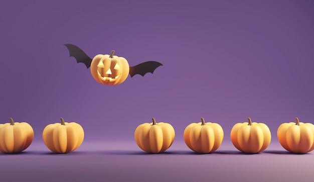 Happy jack o lantern con le ali che volano tra le zucche su sfondo di colore viola. Foto Premium