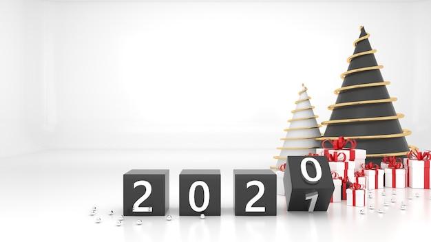 Felice anno nuovo 2021. concetto di cambiamento dal 2020 al 2021. confezione regalo albero di natale con numeri rendering 3d Foto Premium