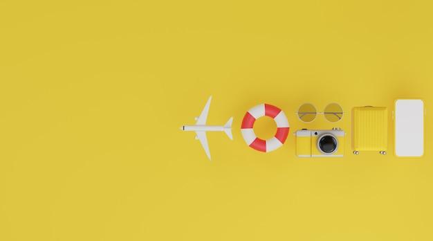 Felice anno nuovo 2021: mockup mobile con schermo bianco, anello in gomma per il nuoto, aereo, bagagli, fotocamera e occhiali da sole Foto Premium