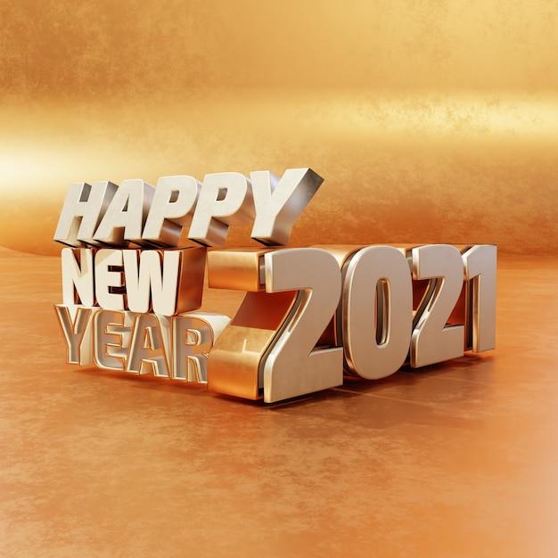 Felice anno nuovo argento dorato lettere in grassetto di alta qualità rendering isolato su sfondo di legno Foto Premium