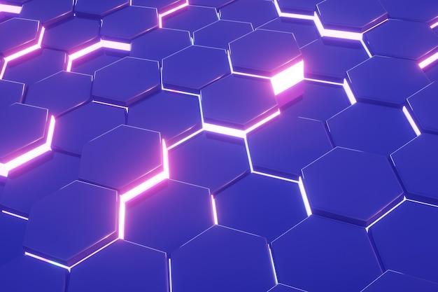 Neon rosa di fondo moderno astratto blu di modello di esagono Foto Premium