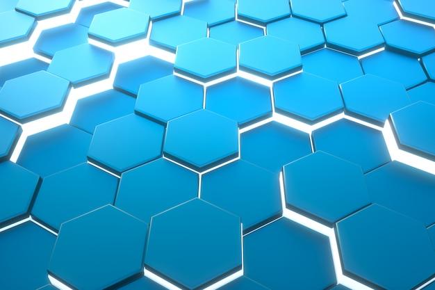 Esagono blu modello astratto sfondo moderno. Foto Premium