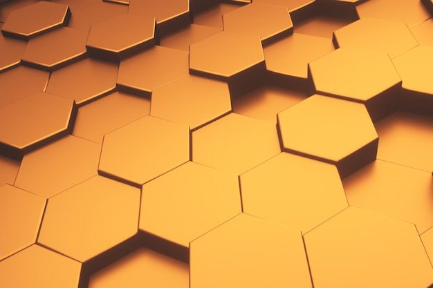 Fondo moderno dell'estratto del modello metallico dell'oro di esagono. Foto Premium