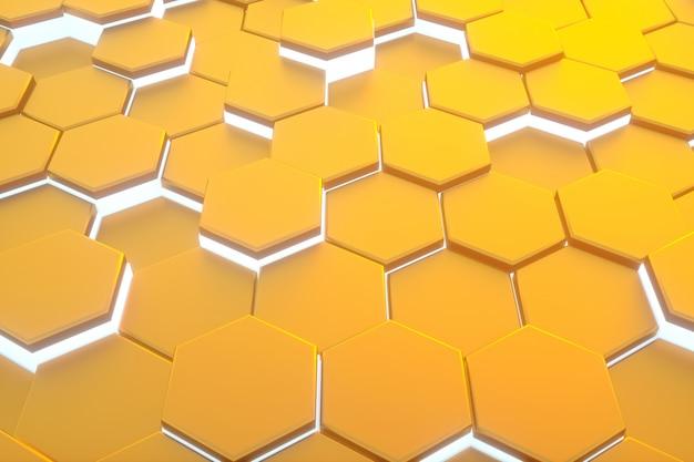 Esagono giallo modello astratto sfondo moderno. Foto Premium