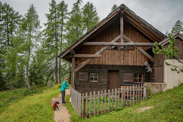 Gli escursionisti nelle alpi austriache camminano su sentieri escursionistici nei boschi intorno ai laghi Foto Premium