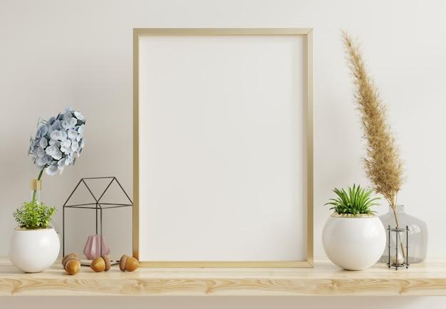 Poster di interni casa mock up con telaio metallico verticale con piante ornamentali in vaso sulla parete vuota. rendering 3d Foto Premium