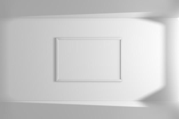 Cornice orizzontale del modello di colore bianco che appende sulla parete. interni semplici. stanza luminosa. luce e ombra della finestra. rendering 3d Foto Premium