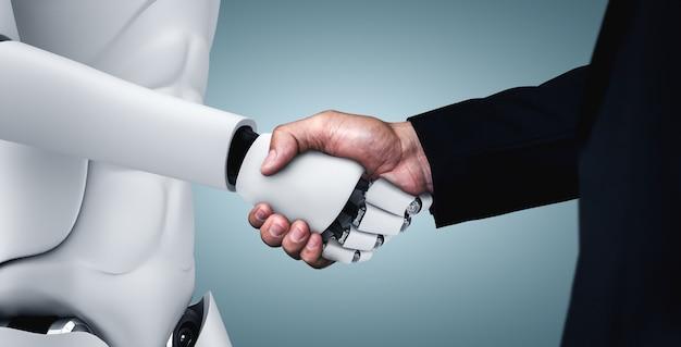 Stretta di mano del robot umanoide per collaborare allo sviluppo della tecnologia futura da parte del cervello pensante ai Foto Premium