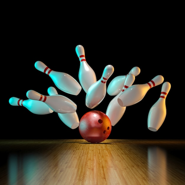 Immagine dell'azione di bowling Foto Premium