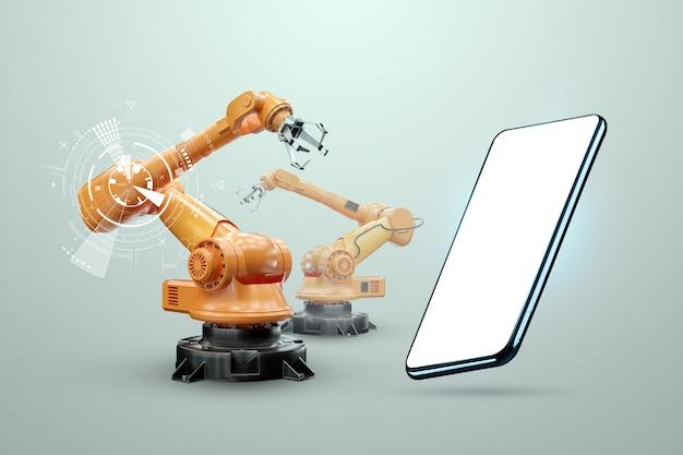 Immagine di uno smartphone sullo sfondo di bracci robotici, fabbrica moderna. concetto di tecnologia iot, fabbrica intelligente. operazione di produzione digitale. industria 4.0. Foto Premium