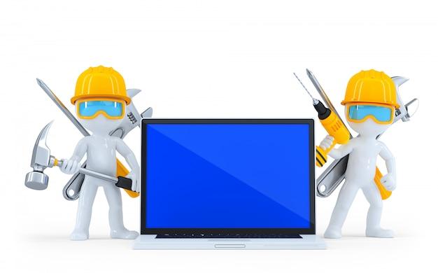 Lavoratore industriale con laptop. isolato. contiene il tracciato di ritaglio Foto Premium