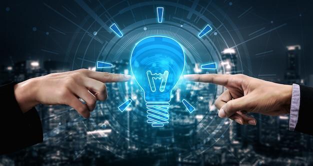 Innovazione tecnologica per il concetto di finanza aziendale. idee innovative pensiero, ricerca. Foto Premium