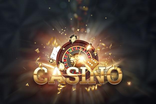 Iscrizione casinò, roulette, dadi da gioco, carte, fiches del casinò su uno sfondo scuro Foto Premium