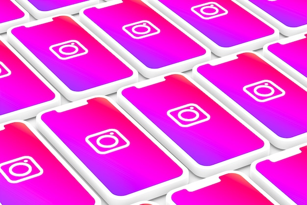 Il fondo di logo di instagram sullo smartphone dello schermo o sul cellulare 3d rende Foto Premium