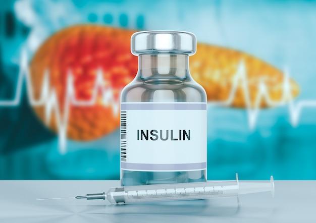 Fiala di insulina e una siringa sul banco dell'ospedale con il pancreas sullo sfondo. Foto Premium