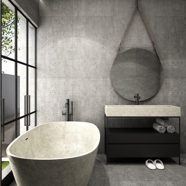 Interior design per zona bagno in stile moderno Foto Premium