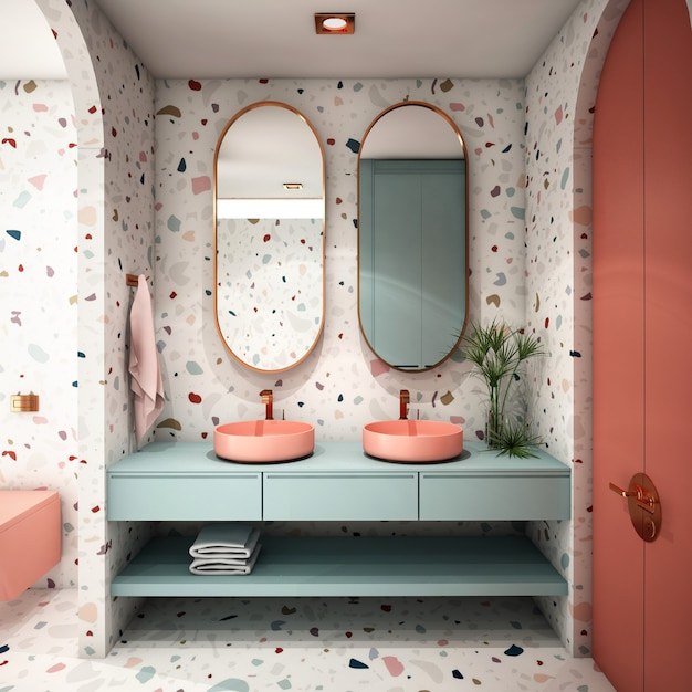 Interior design per bagno in stile moderno Foto Premium