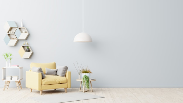 L'interno ha una poltrona gialla su una parete grigia vuota Foto Premium