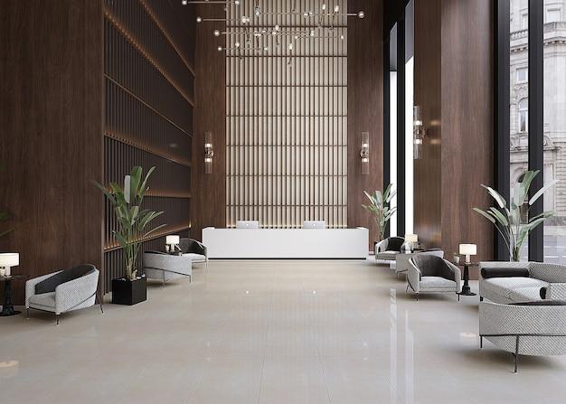 Interno di un moderno design lobby-reception Foto Premium