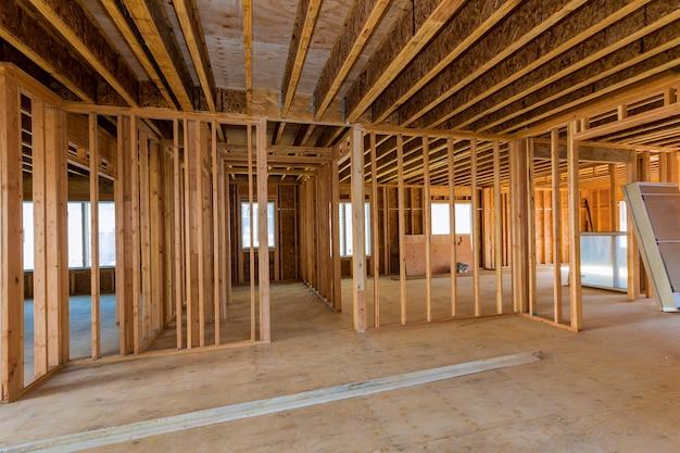 Vista interna di una casa in costruzione Foto Premium