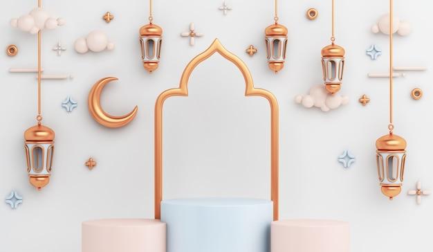 Decorazione del podio dell'esposizione islamica con mezzaluna di lanterna araba Foto Premium