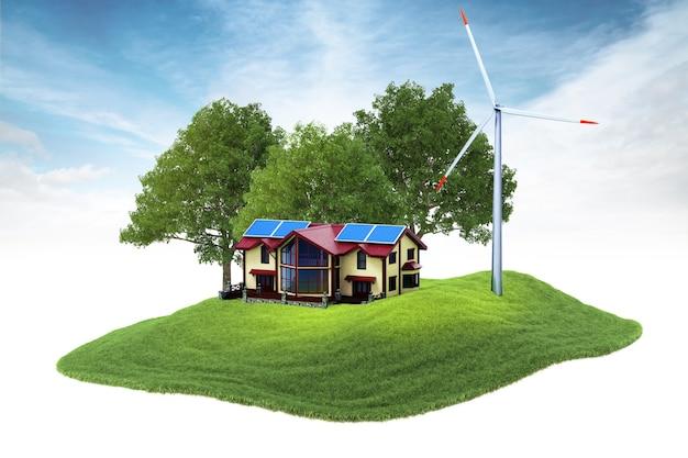 Isola con casa e generatore eolico fluttuante nell'aria Foto Premium