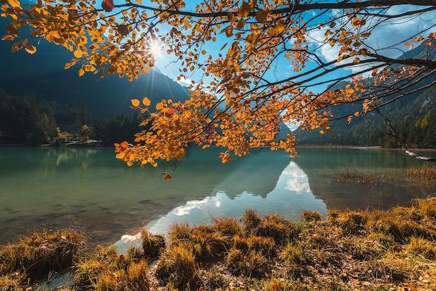 Italia. dolomiti e un piccolo lago, paesaggio autunnale. Foto Premium