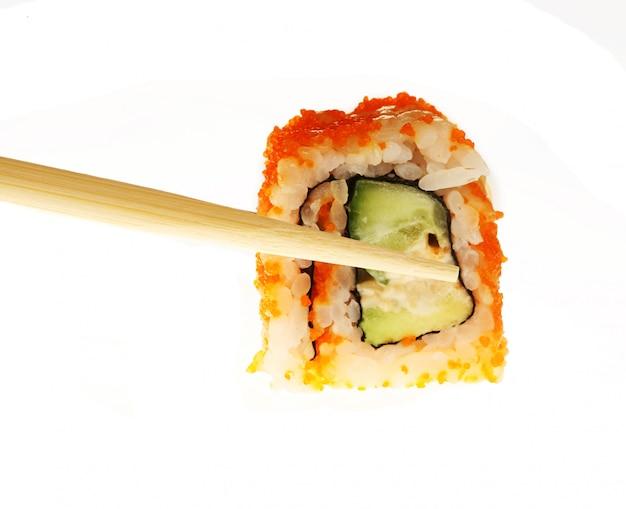 Alimento giapponese isolato su bianco Foto Premium