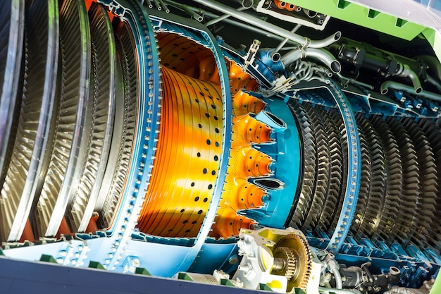 Motore a reazione all'interno. Foto Premium