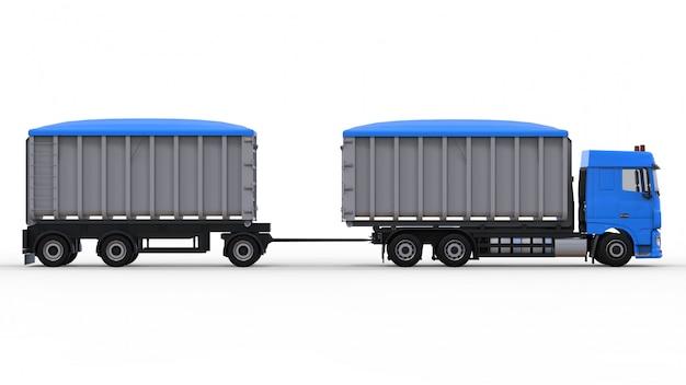 Grande camion blu con rimorchio separato, per il trasporto di materiali e prodotti agricoli e edili sfusi. rendering 3d. Foto Premium