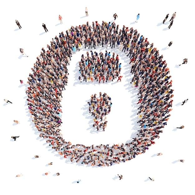 Grande gruppo di persone sotto forma di una serratura della porta Foto Premium