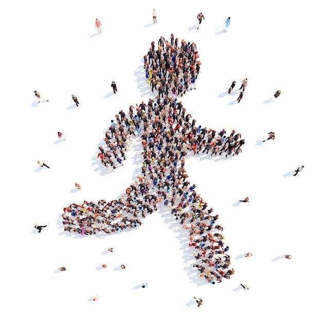 Grande gruppo di persone sotto forma di un uomo che corre Foto Premium