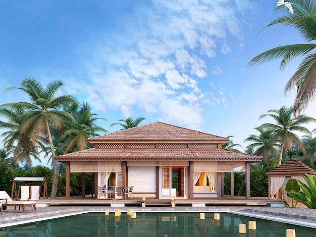 Grandi bungalow di lusso con piscina Foto Premium