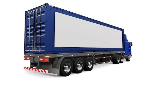 Un grande camion retrò con una parte per dormire e un'estensione aerodinamica trasporta un rimorchio con un container marittimo. sul lato del camion c'è un poster bianco vuoto per il tuo design. rendering 3d. Foto Premium