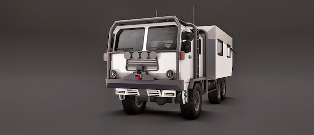 Un grosso camion bianco su uno spazio grigio, preparato per lunghe e difficili spedizioni in una zona remota. camion con una casa su ruote. illustrazioni 3d. Foto Premium
