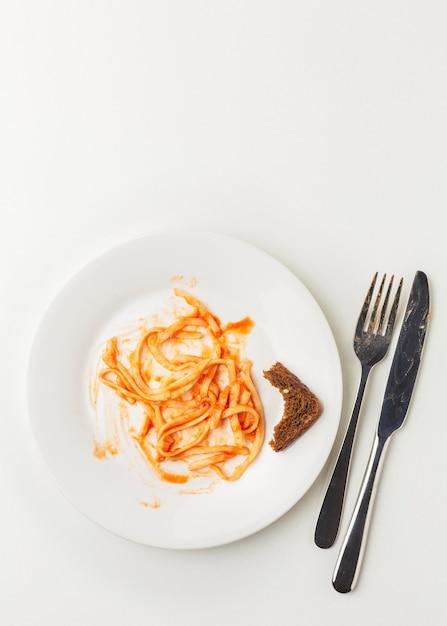 Spazio della copia della pasta degli spaghetti sprecato rimanente Foto Premium